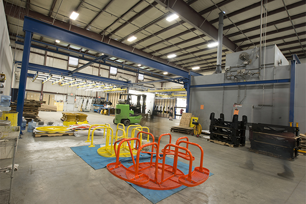 Our powder coating warehouse with a completed project in the foreground